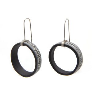 Black Porcelain Narrow Crackle Hoop Earrings