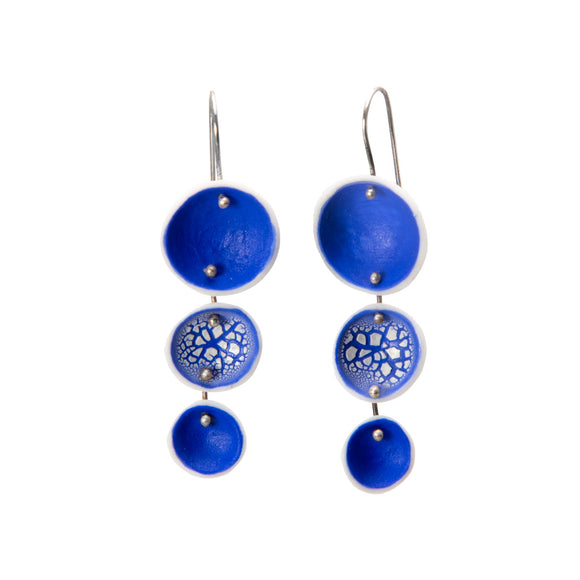 Blue Porcelain Earrings white silver