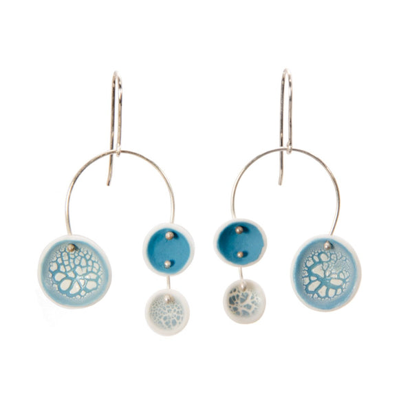 Porcelain Chandelier Earrings in Crackle Aqua