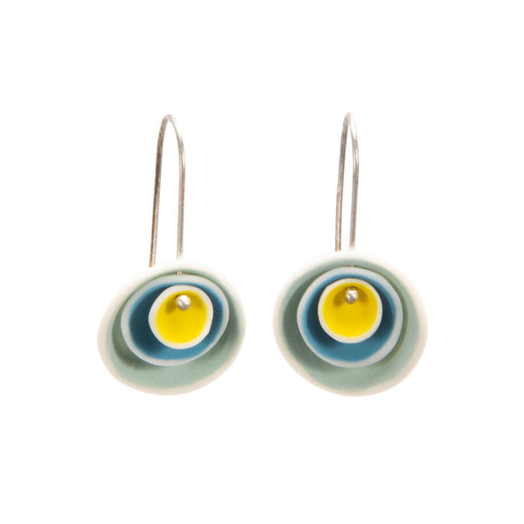 Nested Porcelain Disc Earrings in Yellow and Blues