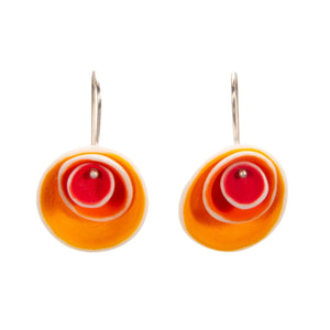Nested Porcelain Disc Earrings in Reds and Orange
