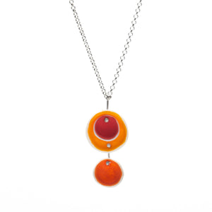 Porcelain Disc Pendant in Red and Orange