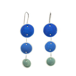 Blue and Aqua Porcelain Pod Earrings