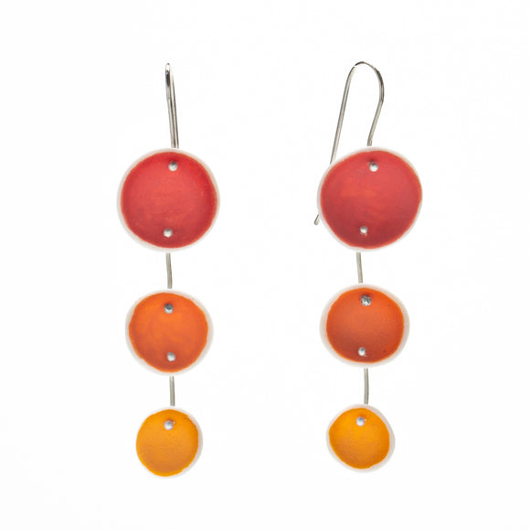 Red and Orange Porcelain Pod Earrings