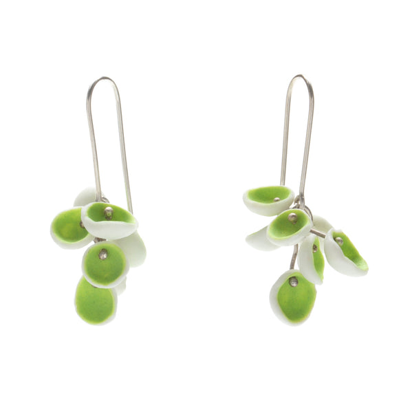 Green Porcelain Cluster Earrings