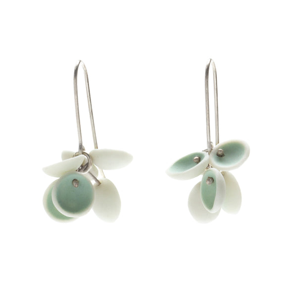 Light Aqua Porcelain Cluster Earrings