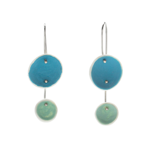 Duo Pod Earrings in Light Blue and Aqua