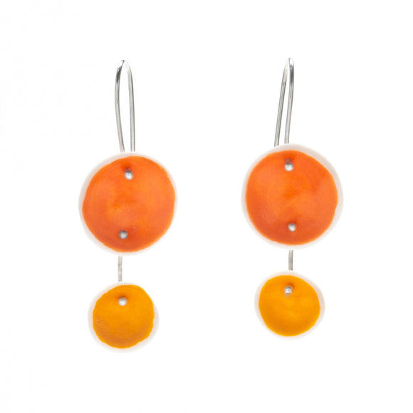 Duo Pod Earrings in Mixed Orange