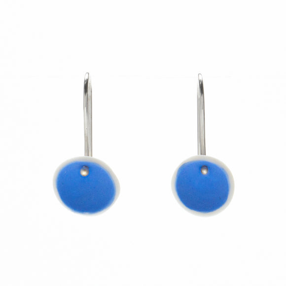 Blue Porcelain Small Pod Earrings