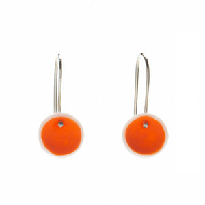 Orange Porcelain Small Pod Earrings