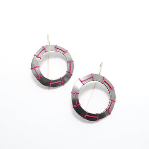 Magenta Blanket Stitched Earrings