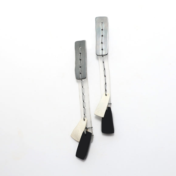 Stitched Grayscale Earrings