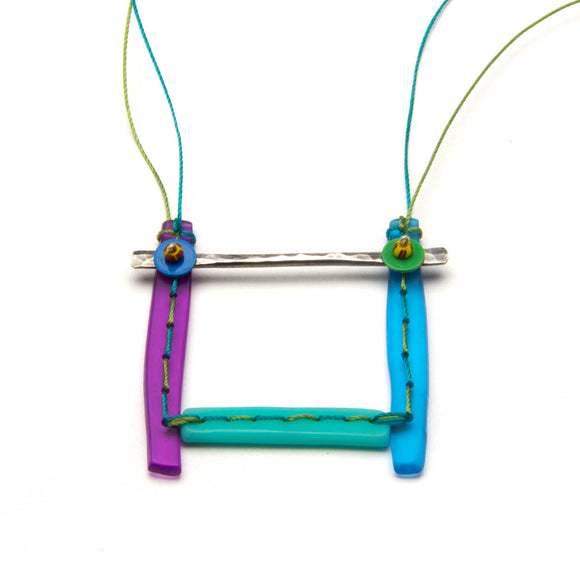 Multi Color Stitched Square Necklace