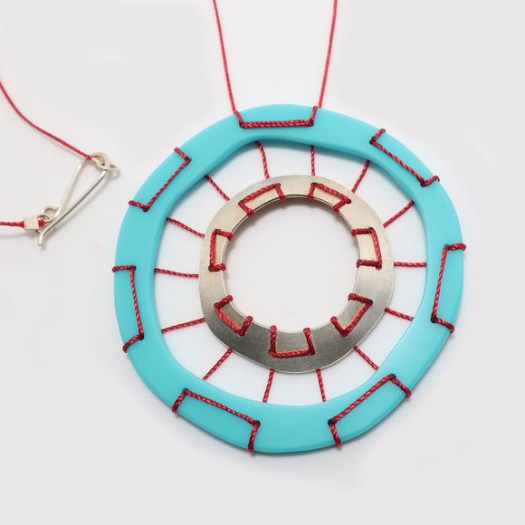 Turquoise Web Stitched Necklace