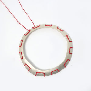 Red Stitched Doughnut Necklace