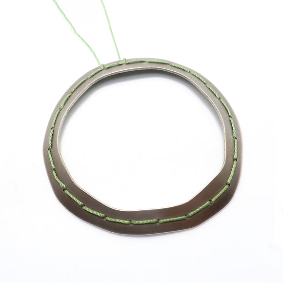 Green Stitched Doughnut Necklace