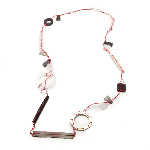 Long Greyscale Necklace on Red Cord