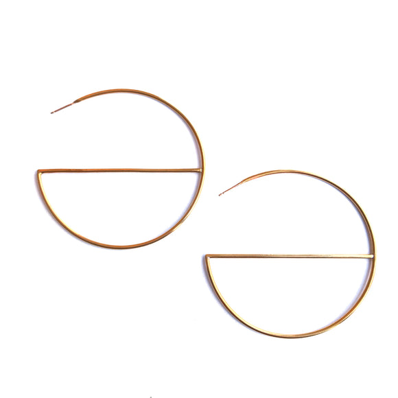 Brass Geo Hoop Earrings