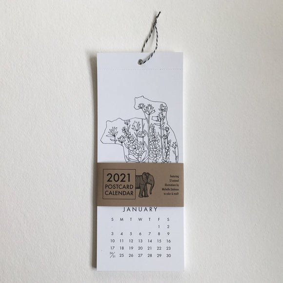 2021 Calendar to Color & Mail featuring Wildlife of the World
