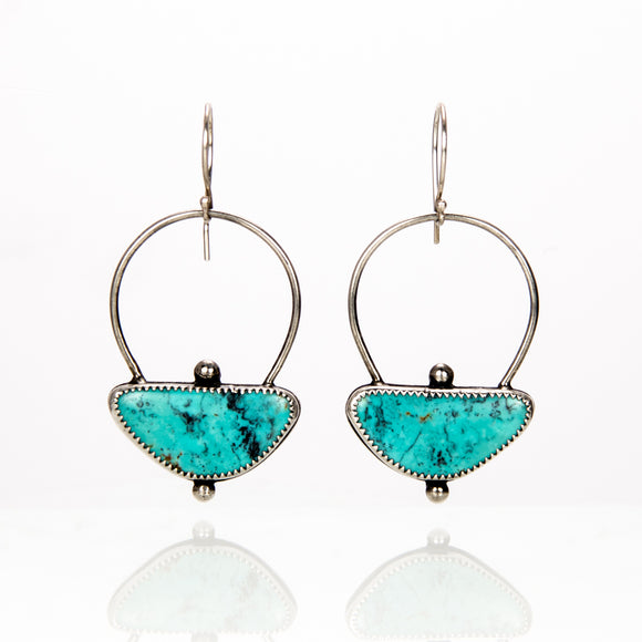 Turquoise Halo Earrings sterling silver