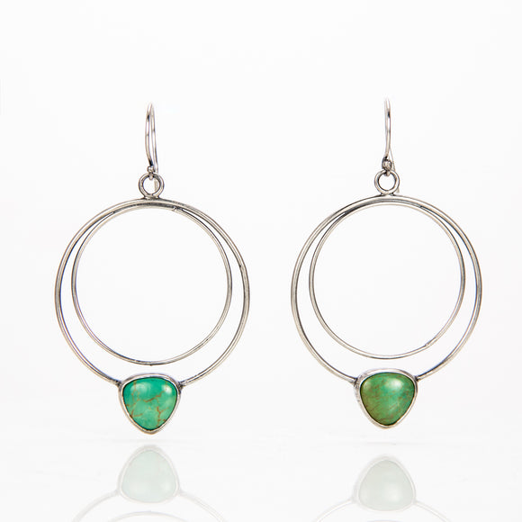 Green Turquoise Halo Earrings sterling silver