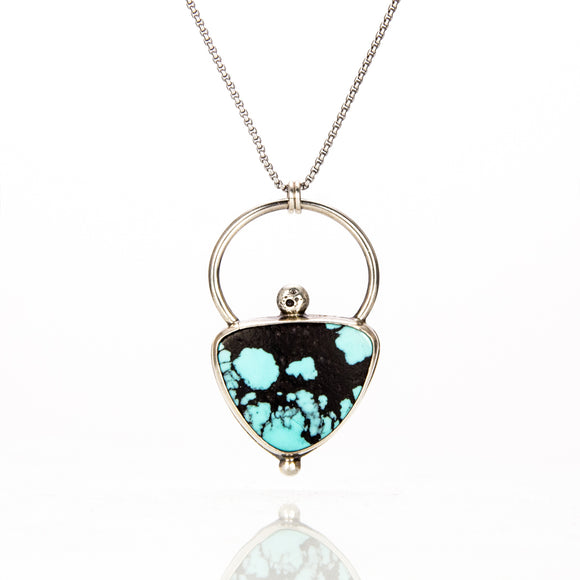 Turquoise Halo Necklace sterling silver