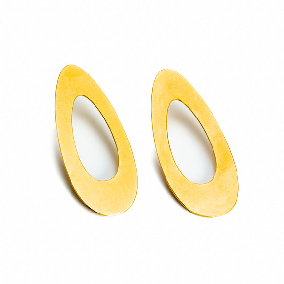 Long Oval Earrings in Gold Plated Steel, sterling silver ear posts
