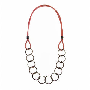Blackened Steel and Red Silicone Necklace