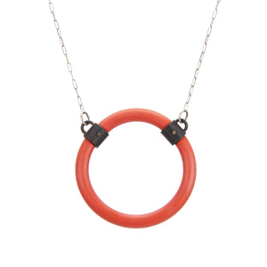 Red Silicone and Steel Necklace, sterling silver chain