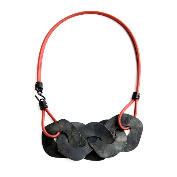 Steel and Red Silicone Necklace