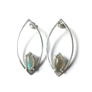 """Escapist"" Earrings sterling silver labradorite"