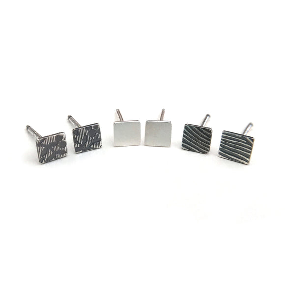 Square Stud Earrings sterling silver