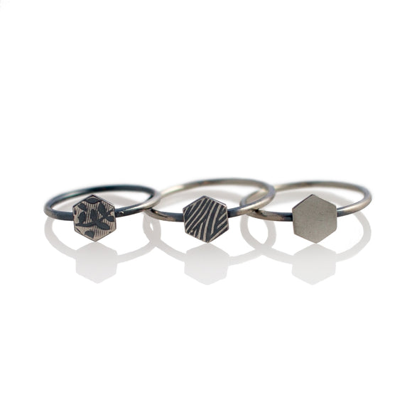 Hexagon Stacking Rings sterling silver