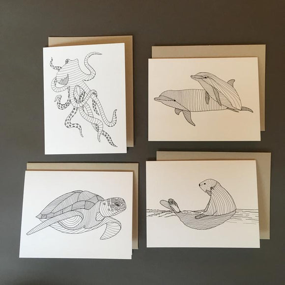 Ocean Life Drawing Notecards