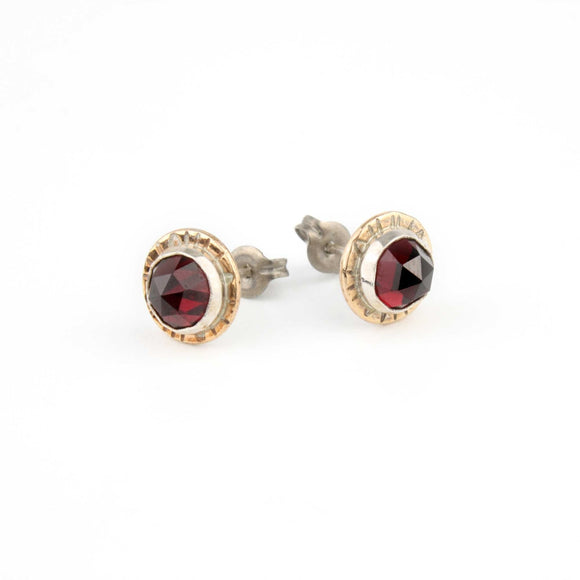 Garnet Earrings in Silver and Bronze Compass-Rose-Garnet Stud Earrings