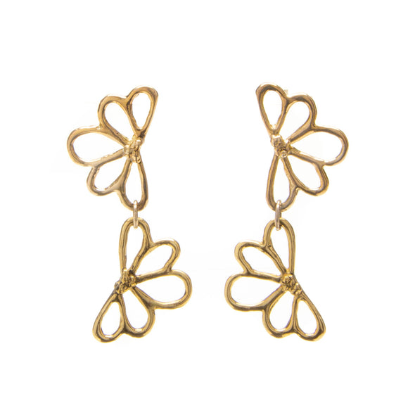 Double Flower Brass Earrings