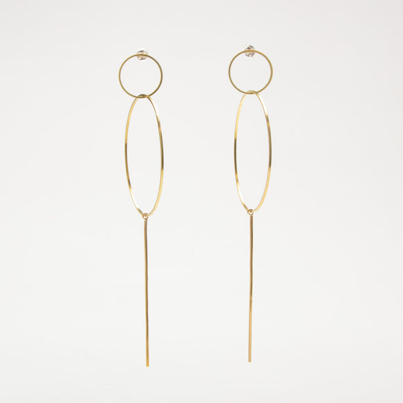 Double Circle and Stick Earrings