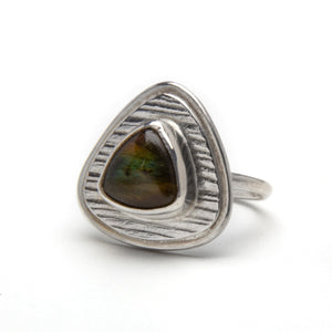 Triangular Labradorite Ring in Textured Frame
