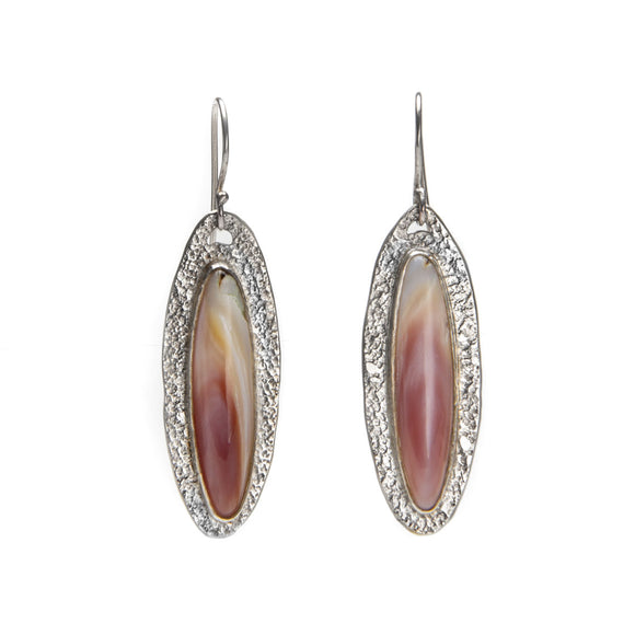 Long Oval Pink Shell Dangles