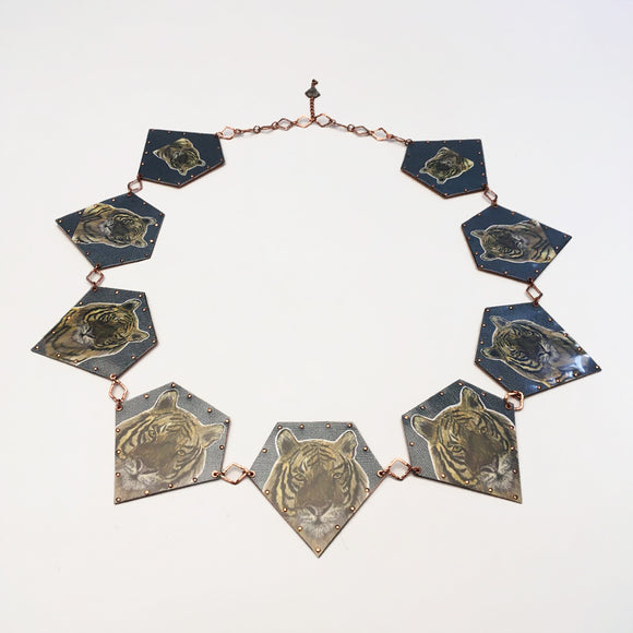 Statemeant2020 necklace copper, paper, plastic, diamonds