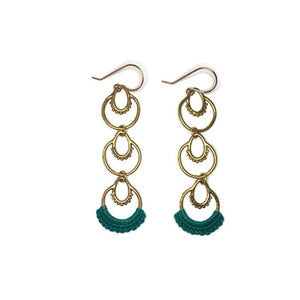 """Athra"" Three Tier Earrings turquoise hand crocheted cotton lace brass"