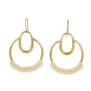 "Ecru ""Maha"" Double Hoop Earrings brass cotton"