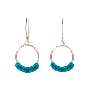 """Chica"" Hoop Earrings with Hand Crocheted Turquoise Lace silver"