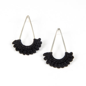 """Rain"" Earrings with Hand Crocheted Black Lace silver"
