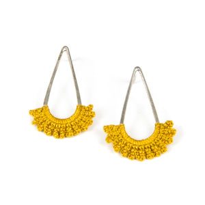 """Rain"" Earrings with Hand Crocheted Mustard Lace silver"