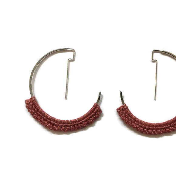 Mini Geo Hoop Earrings in Silver with Dusty Rose Lace