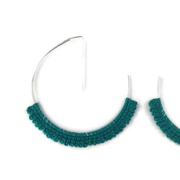 Large Silver Geo Hoop Earrings with Turquoise Lace