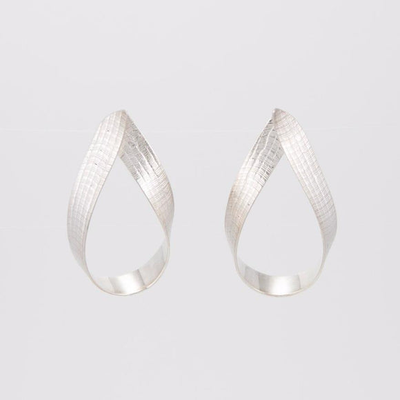 Ribbon Loop Earrings in Sterling Silver