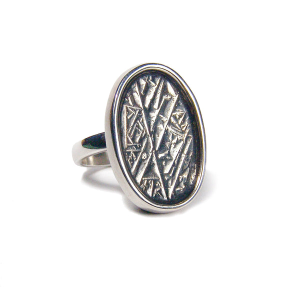 Cast Crystal Texture Ring silver