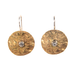 Textured Brass Earrings with Cubic Zirconia